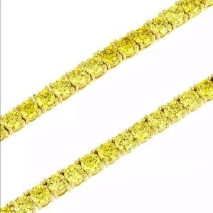 "Yellow Gold Finish Canary Diamond 5mm 8"" Bracelet"